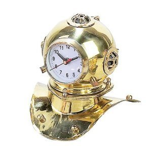 Nautical Clock Divers Helmet Golden Brass 8.5'' W 7.5'' H Pirate Sailor's Colle...