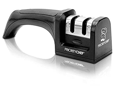 PriorityChef Knife Sharpener, 2 Stage Sharpening System for Knives, Black from Priority Chef :: Combat Knife :: Tactical Knife :: Hunting Knife :: Fixed Blade Knife :: Folding Blade Knife