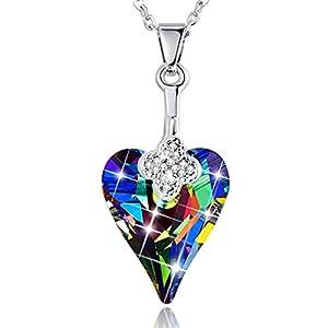 BONLAVIE Womens Heart Pendant Necklace Austrian Crystal White Gold Plated Chain Jewelry W/Gift Box