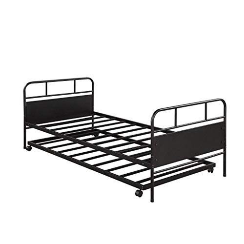 ZHIC Bed, Couch, Metal Daybed Platform Bed Frame with Trundle Built-in Casters, Twin Size I Have a Better Life. (Color : Black)