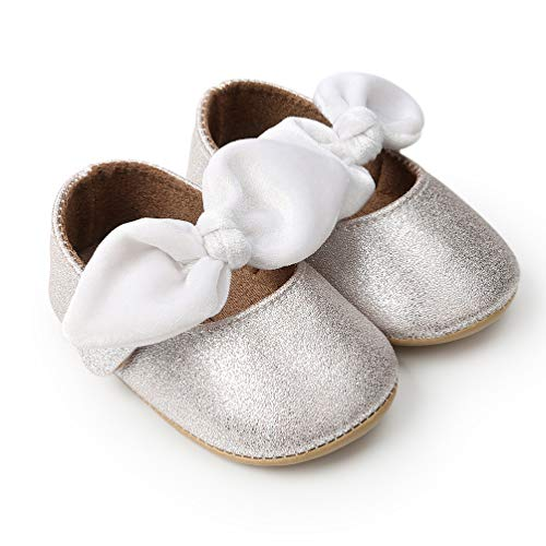 Infant Baby Girls Princess Patent-Leather Bowknot Soft Sole Mary Jane Shoes 12-18months(Silver13cm)