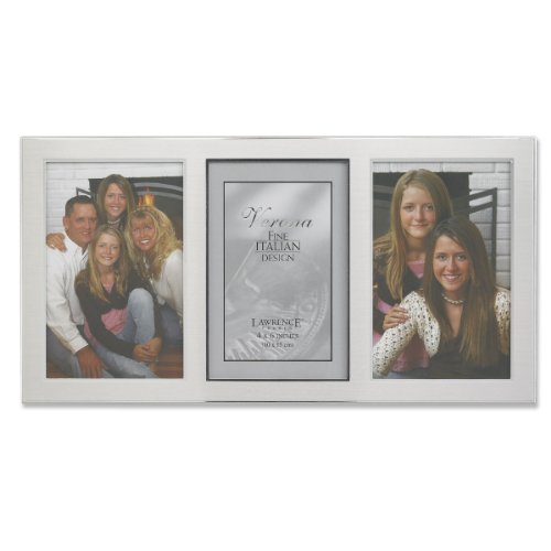 (Lawrence Frames 2-Tone Triple Opening Panel Picture Frame, 4 by 6-Inch, Brushed Silver Metal and Shiny Metal)