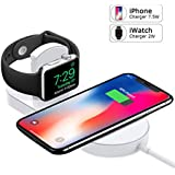 Apple Watch Charger,iWatch Charger,iPhone Wireless Charger,Ultra-thin 2 in 1 Qi Wireless Charging Pad Stand for Apple Watch Series 1/2/3 iPhone X iPhone 8/8Plus Samsung Galaxy Note Samsung