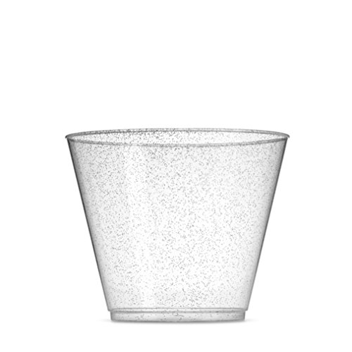 - 100 Glitter Plastic Cups - 9 Oz Clear Plastic Cups Old Fashioned Tumblers -Silver Glitter Cups Disposable Wedding Cups Party Cups