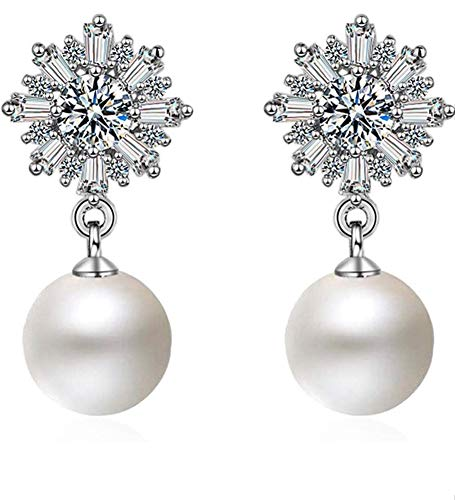 Shining Diva Fashion Latest Crystal Pearl Silver Plated Earrings for Women