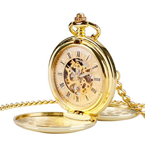 BIANGFEI Navidad Smooth Mechanical Pocket Watch Full Gold Color Men Women Stylish Retro FOB Hand Wind Double Hunter (Mechanical White Gold Pocket Watch)