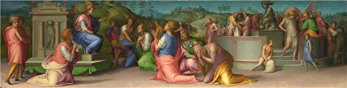The High Quality Polyster Canvas Of Oil Painting 'Pontormo Joseph's Brothers Beg For Help ' ,size: 12 X 47 Inch / 30 X 120 Cm ,this Imitations Art DecorativeCanvas Prints Is Fit For Nursery Decoration And Home Decor And Gifts (Cheetah Fabric Drawer)