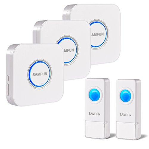 Wireless Doorbell, SAMFUN Waterproof Long Range Door Bell Kit For Home with 2 Remote Buttons and 3 Plugin Receivers, No Batteries Required for Receivers over 52Chimes White by SAMFUN