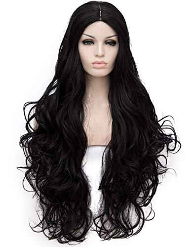 OneUstar Black Wigs Long Wavy Curly Cosplay Wig Halloween Costumes for Women with Wig Cap 31 inch