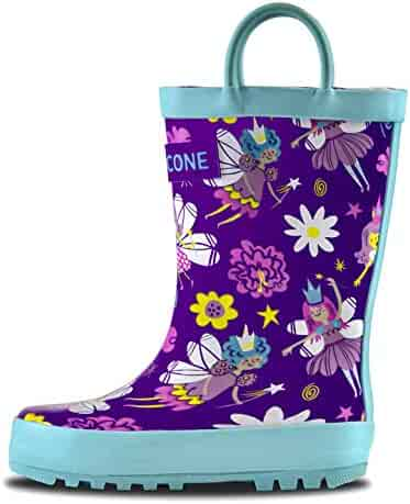 LONECONE Rain Boots with Easy-On Handles in Fun Patterns for Toddlers and Kids