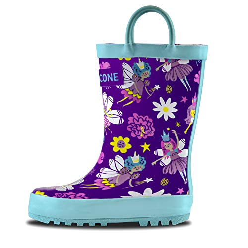 Girls Wellies - LONECONE Rain Boots with Easy-On Handles in Fun Patterns for Toddlers and Kids, Bippity Boppity Fairy Boots, Little Kid 1