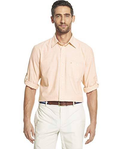 (IZOD Men's Saltwater Dockside Chambray Long Sleeve Button Down Solid Shirt, Prairie Sunset, X-Large)