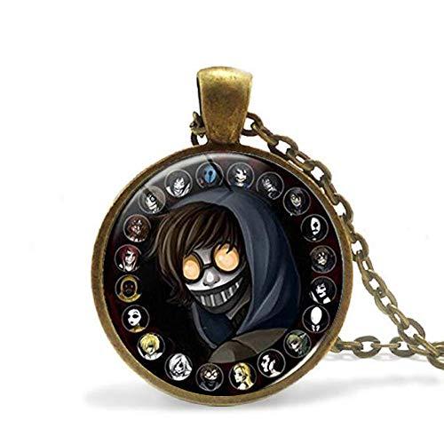 Creepypasta Necklace,Creepy Pasta Ticci Toby Necklace,Glass Pendant,Bronze Chain Necklace