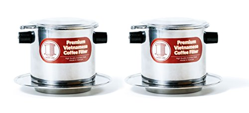 2 x Stainless Steel Vietnamese Coffee Filter Press 8 oz. Works well w/ French Grind Coffee. Gravity Insert (Steel Mug Stainless Traditional)
