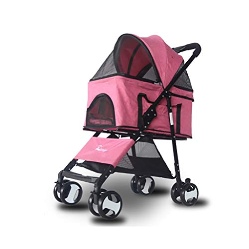 (Folding Compact Pet Stroller for Dogs and Cats, Foldable Carrier Strolling Cart with Removable Liner and 360° rotatable Wheel casters, Compact Cage can be Separated (Color : Pink))