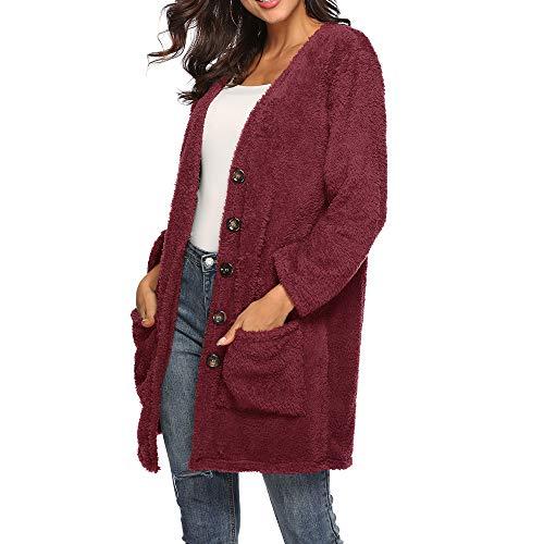 Elegante Camicetta Rosso Elecenty Invernale Donna Jacket Da Con Caldo Outwear Trench Mantieni Cappuccio Lana 0WqFC