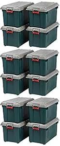 IRIS 82 Quart Weathertight Store-It-All Tote, 12-Pack, Green