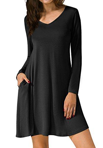 A Elegante Casual Camiseta Manga Vestido Negro Line Rodilla Larga de por Cuello la V DYLH Shirt T Vestido nqf4Uwxxp