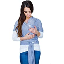 Cotton Baby Wrap – Soft, Stretchy Baby Sling Front Carrier perfect for Infants – Great for Hands-free carrying, breastfeeding, and convenience –(Heather Gray)