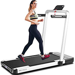 ANCHEER 2in1 Folding Treadmill, 2.25HP APP Control Under Desk Treadmills with LCD Touch Monitor and Watch Remote Controller, Indoor Walking Jogging Running Exercise Machine for Home Gym