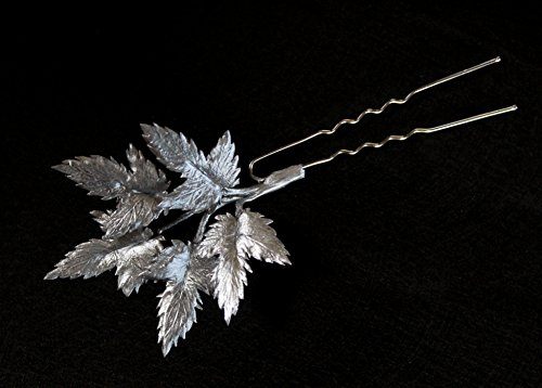 Silver wedding hair piece for bride bridesmaids maid of honor hair accessories metallic leaf leaves twig branch bobby pin flower floral hair pin Prom Graduation Evening haipiece luxury Gothic ()