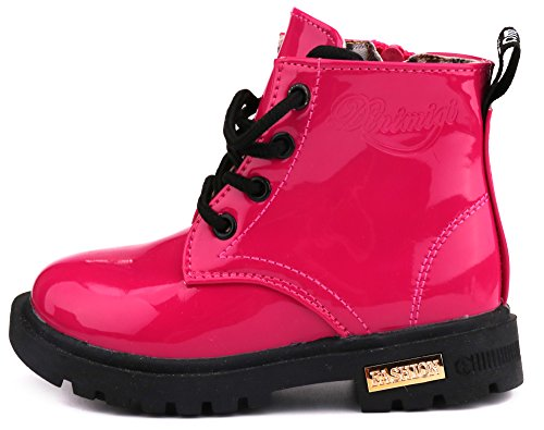 LONSOEN Boys Girls Waterproof Lace/Zip up Kids Boots, Hot Pink, KDB002 CN31 by LONSOEN (Image #2)