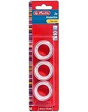 Herlitz 10525236 transparante kleeffolie 10 m x 19 mm, 3 stuks op blisterkaart