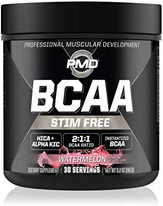 PMD Sports BCAA Stim-Free Amino Acids – Better Workout Performance, Enhanced Recovery, Daily Energy, Muscle Builder, and Muscle Sparing – BCAA Powder Drink Mix – Watermelon 30 Servings
