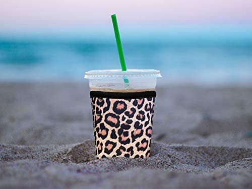 XccMe Reusable Iced Coffee Sleeves Neoprene Insulator Cup Cover for Cold Drinks,Beverages Holder,Ideal for Dunkin Donuts, Starbucks Coffee, McDonalds (Leopard, 2Pack Large 32oz)