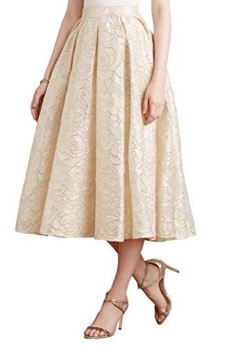 Erin Fetherston Saone Midi Skirt, Shimmer Neutral, 4 - Erin Fetherston Silk