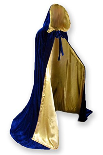 Adult Royal Blue King Costumes (Velvet Renaissance Medieval Cloak Cape lined with Satin)