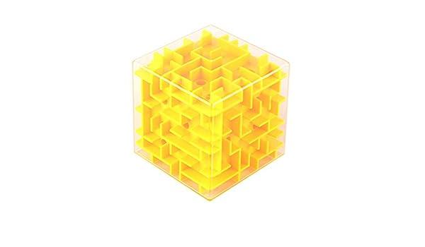 BeesClover Cubo Mágico de plástico Transparente Juguete Niños Inteligencia Laberinto Puzzle Oyuncak Mini Juegos Rompecabezas Juguetes Educativos 60D0670 Yellow Solid Color Álbumes y pegatinas