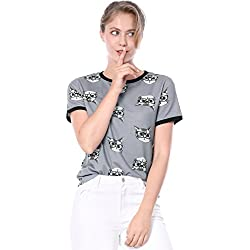 Allegra K Women's Short Sleeve Contrast Cartoon Cat Tee Ringer T-Shirt M Grey