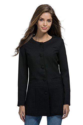 My Wonderful World Women's Slim Candy Color Round Neck Jacket Long Office Blazer