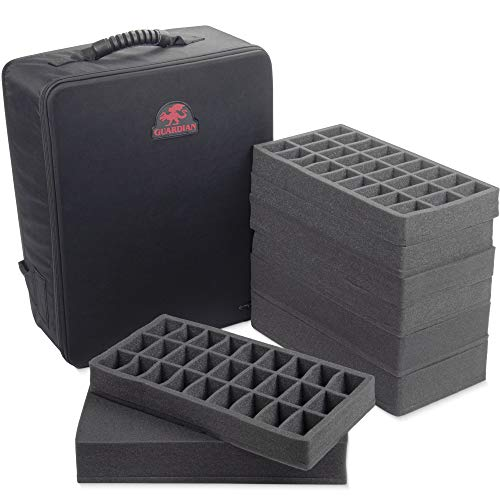 Guardian Tabletop Gaming Backpack | Deluxe Portable Carrying Case with Space For 135+ Figurines, Large Miniatures, and Wargame Transportation | Includes Four Compartment Trays & 3 Layers of Pluck Foam