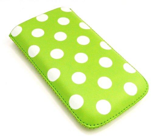 Emartbuy Tupfen Grün / Weiß Pu-Leder-Tasche / Case / Sleeve / Halter (Groß) Mit Pull Tab Mechanismus Geeignet Für Apple Iphone 4G / 4Gs / 4S
