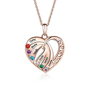 OPALSTOCK Personalized Mothers Necklace Simulated Birthstones Necklaces Heart Pendant Name Necklaces Jewelry for Mom Grandma by OPALSTOCK