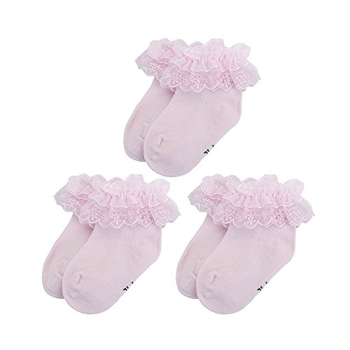 Baby Girls Princess Frilly Lace Ruffle Socks 3 Pack Pink, 0-6 Months