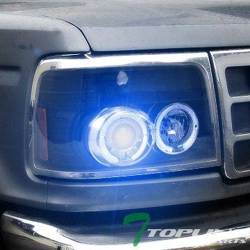 Topline Autopart 10K Hid Xenon W/Black Halo Projector Headlights Parking 92-96 Ford (92 93 94 Headlight Covers)