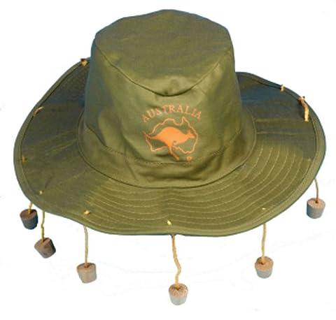 Mens Australian Aussie Outback Australia Hat with Corks Fancy Dress Costume Hat (Australian Outback Kostüm)