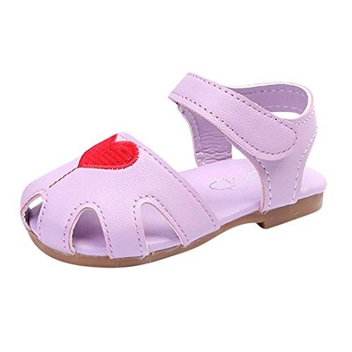 Sunyastor Children Kids Infant Girls Heart Embroidery Breathable Mesh Non-Slip Princess Casual Shoes (Purple, Asia 16)