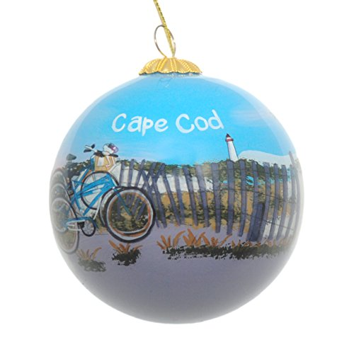 Cape Christmas Ornament - Hand Painted Glass Christmas Ornament - Bicycles On The Beach By Fence Cape Cod
