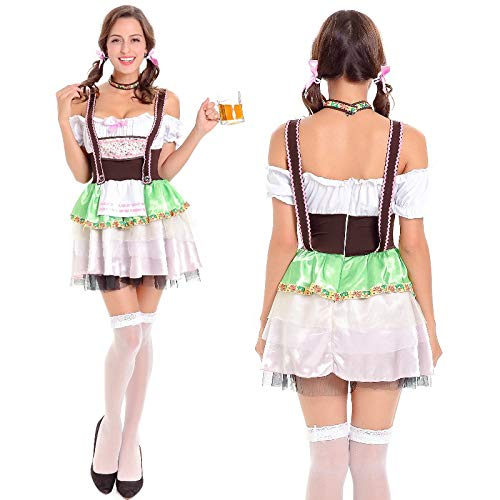 Simmia Halloween Costumes Sexy Dress German Oktoberfest Costume Halloween Maid Uniform Bar, 7141, M