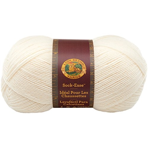 Lion Brand Yarn 240-100K Sock-Ease Yarn, Marshmallow - Fingering Weight