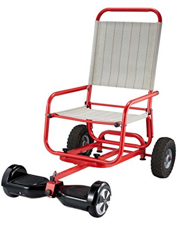 HoverTrailer, Hoverboard (Two-Wheel Self Balance Scooter) Ridding Cart Attachement/Trailer with Seat, Personal/Cargo Transporter (red) (Transporter Cart)