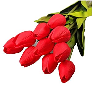Anboo 10 PCS Tulip Artificial Flowers For Decoration Latex Real Touch Bridal Wedding Bouquet Art Deco (red) 1