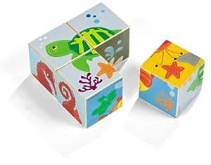 Janod 4505534 - Rompecabezas de cubos (4 cubos), diseño de animales marinos