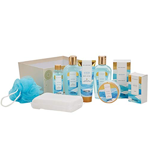 Spa-Luxetique-Spa-Gift-Basket-with-Refreshing-Ocean-Essential-Oils-Premium-8pc-Gift-Baskets-for-Women-Decorative-Box-with-Ribbon-Bath-Gift-Set-Includes-Shower-Gel-Body-Butter-Hans-Soap-More