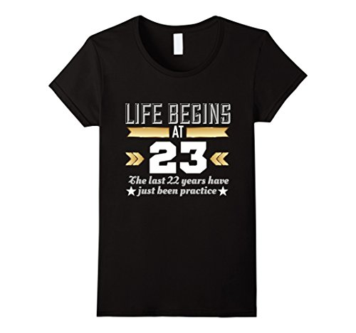 Womens Life Begins At 23  - Funny 23rd Birthday T-Shirt M...