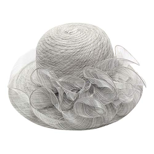 SnowLily Hat,Casual Women's Organza Church Kentucky Derby Fascinator Bridal Tea Party Wedding Hat Light Gray